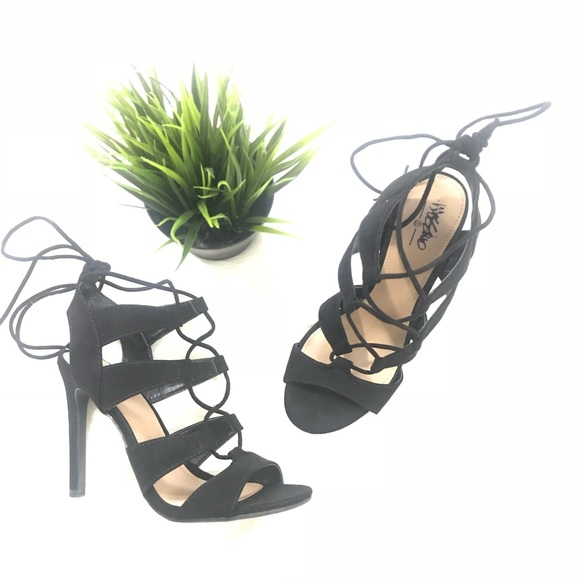 37586708d296 Scarlett Black suede strappy lace up heels sandals